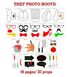 Chef Photo Booth Props 37 Pieces-Printable by HappyFiestaDesign