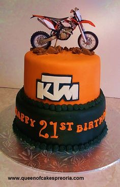 Boys Birthday cake-KTM offroad motorcycle-Toy-Fondant adn Buttercream icing-Cake airbrushing-(ref.No.140) Buttercream Icing Cake, Fondant, Boy Birthday, Birthday Cakes, Birthday Parties, Motorbike Cake, Motorcycle, Dirt Bike Cakes, Kid Cakes