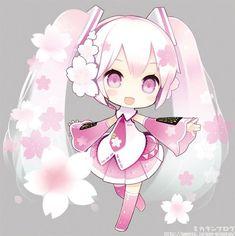 Chibi Nendoroid Sakura Miku this is adorable Manga Anime, Cute Anime Chibi, Manga Girl, Anime Art, Chibi Kawaii, Manga Kawaii, Sakura Miku, Vocaloid Characters, Mikuo