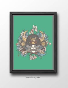 """<b>Cat015- Three Swords Cat</b>  <b>Samurai Cat(ch) series, Green</b> Continuous of <a href=""""http://xiaobaosg.storenvy.com/collections/402498-neko-cat/products/3687133-bountiful-catch"""">Bountiful Catch</a>.   *Frame not included*  Size: <b>A3 or A4 250GSM Texture paper</b>  Each print wi..."""