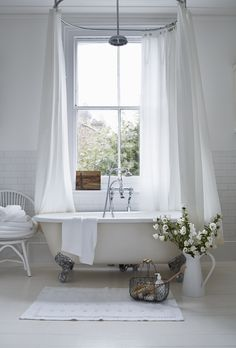 Fabulous White Curtain And The Wonderful Clawfoot Tub For White Bathroom Ideas, With Round Shaped Me Bad Inspiration, Bathroom Inspiration, Bathroom Ideas, Bathroom Designs, Bathtub Ideas, Bathroom Styling, Bathroom Remodeling, Bathroom Organization, Organization Hacks