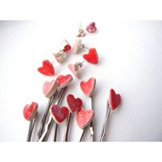 Heart bobby pins 2 cute red or pink glazed ceramic hair pins,... ($14) ❤ liked on Polyvore featuring accessories, hair accessories, red hair pins, red hair accessories, pink hair pins, bobby hair pins and pink hair accessories