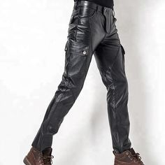 #Mens #Stylish #Casual #Genuine #Black #Leather #Biker #Pants Mens Leather Pants, Biker Pants, Parachute Pants, Black Leather, Shorts, Stylish, Casual, Fashion, Paisajes