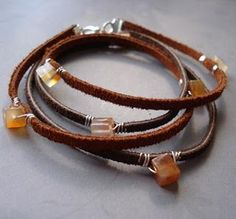 Bead, leather, wire. Love the chemistry.