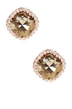 t+j Designs Champagne Crystal Stud Earrings