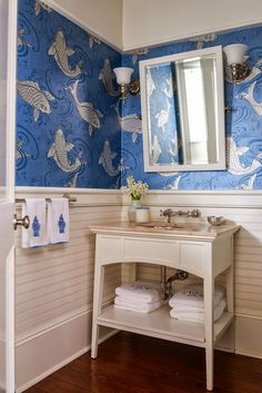 Before and After: Designing a Home in Darien, Connecticut (Part 1) MehditashDesign.com Photo: john gruen #Interiordesign #Homedecor #Blue #Wallpaper #PowderRoom #Bathroom