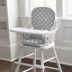 Kids Rocking Chair Pad in Gray and White Dots and Stripes by Carousel Designs.