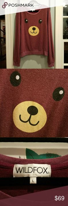 """{Wildfox} """"Teddy Girl"""" jumper. A gorgous bordeaux/wine color, not brown, this is the limited main-line release that was found at Dolls Kill.   NOT OFF 5TH OR RACK. NOT A BUDGET REPRINT.  Hard to find size large.   Nearly flawless, soft as new. Worn once and hand washed by previos owner. Never put in the dryer.  TAGGED LARGE, FITS SMALL THROUGH EXTRA-LARGE.   MEASURED LENGTH: 27""""  BUST: 42"""" BUST FLAT BEFORE STRETCH. Wildfox Tops Sweatshirts & Hoodies"""