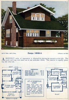 American home designs - Vintage house plans - Click Americana Home Design Floor Plans, House Floor Plans, Interior Design Singapore, Home Interior Design, American Home Design, Bungalow Style House, Vintage House Plans, Craftsman Bungalows, Sims House