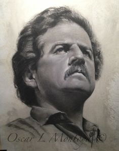 """""""Luis Carlos Galan"""" Life Size. Charcoal and White Chock on toned paper. 16"""" x 20"""""""