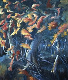 """""""Large Autumn Oaks"""" oil on canvas by Katia Oh"""