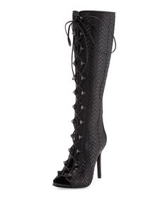 Pedrita Woven Leather Gladiator Boot, Black by Schutz at Neiman Marcus Last Call.