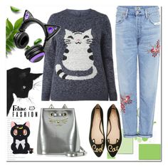 """""""Feline Fashion"""" by ilona-828 ❤ liked on Polyvore featuring Charlotte Olympia, Kate Spade, Citizens of Humanity, Brookstone, StreetStyle, polyvoreeditorial and catstyle"""