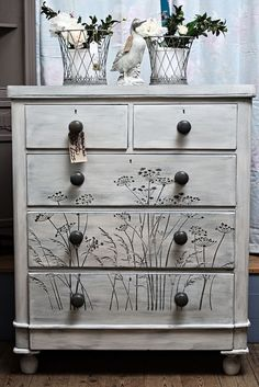 hand painted furniture Victorian chest of drawers. This one has been given the weathered paint look in grey and white and has a cow parsley design stenciled on the drawers, definitely one of a kind :) Hand Painted Furniture, Funky Furniture, Refurbished Furniture, Repurposed Furniture, Shabby Chic Furniture, Furniture Projects, Furniture Makeover, Furniture Stencil, Furniture Stores