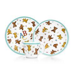 ABC Bears three-piece baby set in porcelain.   Tiffany & Co.