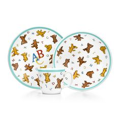 ABC Bears three-piece baby set in porcelain. | Tiffany & Co.