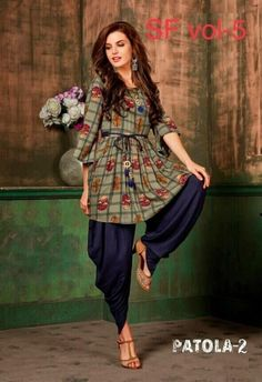 Buy Pretty Rayon Dhoti Kurti Set (Code: online from sourgrape's online Kurta Designs Women, Kurti Neck Designs, Dress Neck Designs, Pakistani Dresses, Indian Dresses, Indian Outfits, Frock Fashion, Fashion Dresses, Stylish Dresses