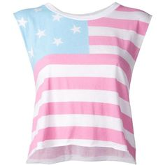 WILDFOX 'Chad' tank t-shirt ($62) ❤ liked on Polyvore featuring tops, t-shirts, shirts, crop tops, blusas, american flag sleeveless shirt, sleeveless tee, american flag t shirt, crop t shirt and pink crop top
