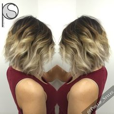 #ShareIG Natural balayage highlights blending into a platinum blonde ombré, textured bob haircut and styled. #phillip_styles
