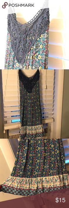 Dress: American Rag, Macy's Blue floral hobo style dress. Lightweight with crochet detail. American Rag Dresses Mini