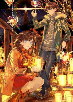 Shinichi Kudo & Ran Mouri out at a festival together? Beautiful artwork for Detective Conan! Magic Kaito, Anime Love Couple, Cute Anime Couples, Sherlock Holmes, Detective Conan Ran, Ran And Shinichi, Kudo Shinichi, Detektif Conan, Tamako Love Story