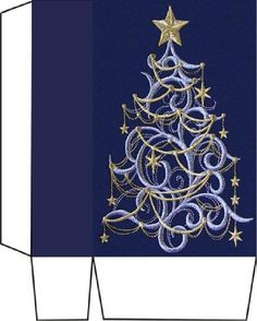 Embroidered gold n blue tree