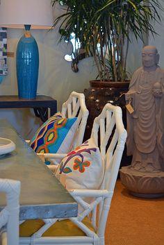 Pops of #blue color brighten a #dining #roomdesign at #Dallas #Mecox #interiordesign #MecoxGardens #furniture #shopping #home #decor #design #room #designidea #vintage #antiques #garden