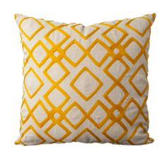 "Tangerine Geometric Square 18"" x 18"" Pillow by Surya  Not super big on the yellow but I like this look."