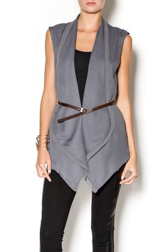 Grey chiffon vest jacket with brown belt. Versitile piece that can be worn over outfits to add edge.   Grey Chiffon Vest by Double Zero. Clothing - Tops - Casual Philadelphia, Pennsylvania