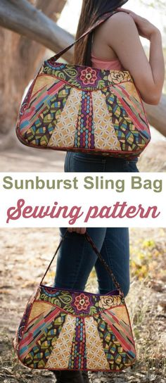 Great purse or handbag sewing pattern. The Sunburst Sling bag is great for using up smaller pieces of fabric that are too small to make a whole bag.