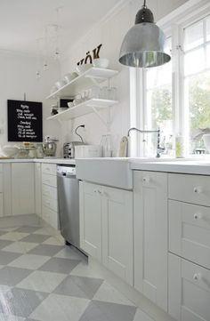 Black and grey tile floor