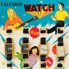 1950s toy calendar watches on display card | Made in Japan