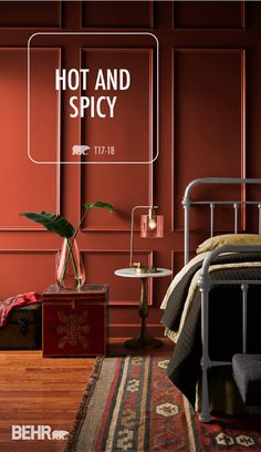 Lose yourself in the bold hue of BEHR's color of the month: Hot and Spicy. This rich shade of red is versatile enough to Behr Paint Colors, Red Paint Colors, Colorful Interiors, Family Room Design, Warm Colors, Wall Colors, Room Colors, Bedroom Colors, House Colors