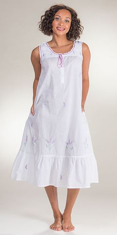 La Cera Sleeveless Long 100% Cotton Lawn Gown in Lavender Grove