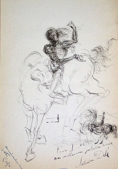 Saint George 1955. The image is a wonderful display of Dali's always astonishing artistry. This drawing is dedicated to Lucien Decaunes, the husband of Cecile Eluard, Gala's daughter with the Surrealists Poet Paul Eluard. Though it is widely known that Gala had a frivolous relationship with her daughter, Dalí had nothing but compassion for Cecile. He often sent her letters and drawings that she kept hung on the walls of her home...