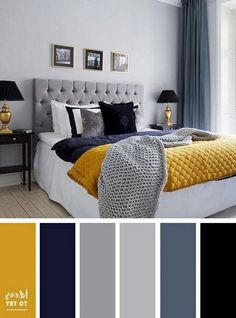 Blue Yellow Gray Bedroom Awesome 25 Inspiring Chic Home Color Schemes and Decorations to Get House Color Schemes, Living Room Color Schemes, House Colors, Interior Design Color Schemes, Gray Color Schemes, Color Interior, Color Schemes For Bedrooms, Apartment Color Schemes, Yellow Interior