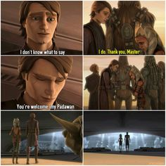 Anakin & Ahsoka converse part Yoda's thoughts as he sees them leave: Hmm, different they are the Padawan and Master, for it seems they will go far. Star Wars Rebels, Star Wars Clone Wars, Star Wars Art, Star Trek, Star Wars Books, Star Wars Characters, Anakin Skywalker And Ahsoka Tano, War Quotes, Matt Lanter