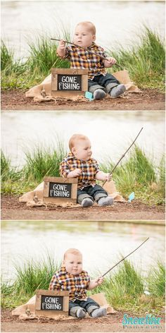 Gone fishing baby photos, 6 months old.  www.snowlinephotography.com