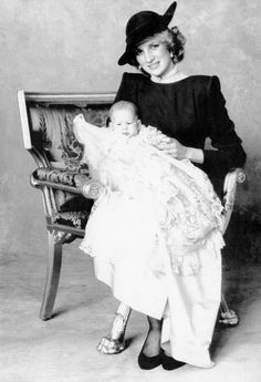 December 21, 1984: Prince Harry and his mother Lady Diana posed for a portrait after his christening.