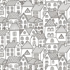 Find Doodle Houses Seamless Pattern Black White stock images in HD and millions of other royalty-free stock photos, illustrations and vectors in the Shutterstock collection. Thousands of new, high-quality pictures added every day. Black And White Art Drawing, Black And White City, Doodle Drawings, Doodle Art, Window Drawings, House Doodle, Book Wrap, Stoff Design, City Background