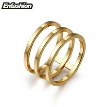 Moda 3 rows en capas anillos punk midi anillo 18 K chapado en oro rosa anillos para mujeres joyería anillo de acero inoxidable venta al por mayor(China (Mainland))