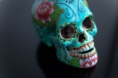 TURQUOISE LOTUS POD - HAND PAINTED SKULL