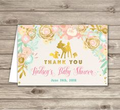 Baby Shower Thank You Cards Woodland Deer dear Pink by cardmint