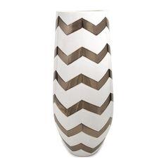 Chevron Vase in Bronze Metallic and White | Nebraska Furniture Mart