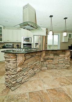 Oh My! kitchen stone veneer   Quo Vadis Interiors – Stone Veneer Kitchen Island & Wall