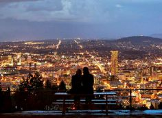 Portland city lights from Pittock mansion