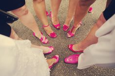 Love how the bride and her maids have the same color shoes, but different styles! Photo by Mark W. #MinneapolisWeddingPhotographer