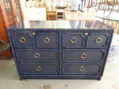 Faux BAmboo Drexel Chest Dresser Navy Blue