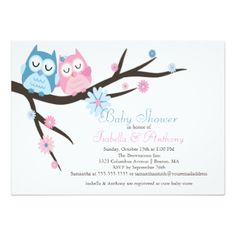 Cute Pink & Blue in Love Owl Couple Baby Shower 4.5x6.25 Paper Invitation Card