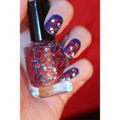 Star Spangled Avenger, Avengers inspired Nail Polish ($8.50) ❤ liked on Polyvore featuring beauty products, nail care, nail polish, nails, makeup, beauty and unhas
